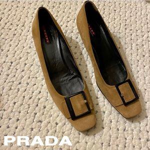 PRADA Kitten Heels Iconic Mod Buckle Square Toe 41